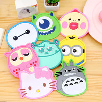 Silicone heat-resistant table mats Dining table placemats coaster Glass mat insulation pad Creative coffee cups cartoon coasters