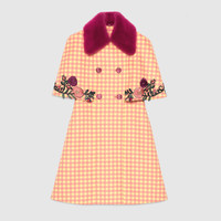Gucci Check print cape coat with mink