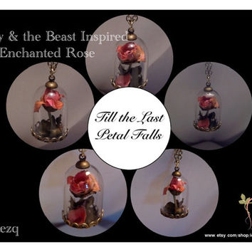 Enchanted Rose/Beauty and the Beast Rose Inspired/Fabric Rose Pendant Necklace/Glass Dome Pendant Necklace/MADE TO ORDER