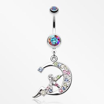Crescent Moon Fairy Belly Button Ring