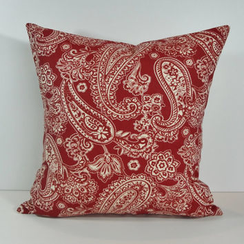 Paisley Decorative Pillow Cover, 18 x 18, Cushion Cover, Red, Cranberry