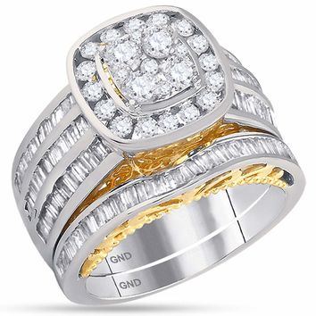 14kt Two-tone White Yellow Gold Womens Round Diamond Cluster Bridal Wedding Engagement Ring Band Set 1-3/4 Cttw