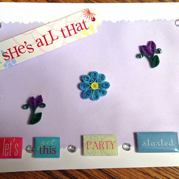 Female birthday, girl birthday card, quilling card, handmade card, 5x7 card, card with envelope, adult female card, quilling