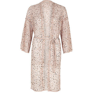 Light pink sequin embellished belted kimono - kimonos - tops - women
