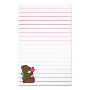 Teddy Bear with Ice Cream Cone Lined Stationery