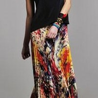 Alexis Anais Long Pleated Skirt in Monet