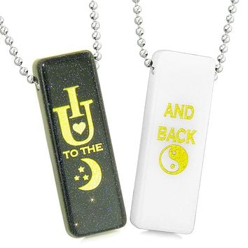I Love You to the Moon and Back Magic Couples Amulets White Quartz Blue Goldstone Tag Necklaces