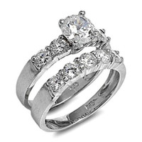 Sterling Silver Wedding Ring Set CZ Engagement Ring and Band Bridal size 5-10