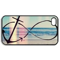 Infinity Anchor Hard Plastic Black Case for Iphone 5c + Free Wristband Accessory