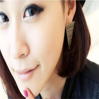 Silver 2015 New European And American Fashion Retro Big Earrings Sliver Exaggerated Vintage Triangle Earrings Pattern Free Shipping