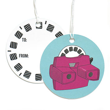 Retro 3D toy Gift Tags