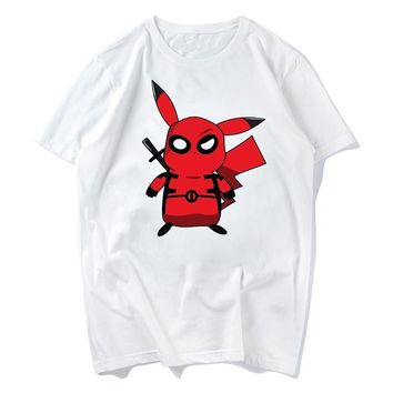cute pikachu deadpool iron man super hero funny tshirt men new white Casual tee shirt homme  go t shirt s-xxxlKawaii Pokemon go  AT_89_9