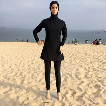 2017 Plus Size Muslim Swimwear Women Full Coverage Islam High Quality Black Swimsuit Arab Beach Wear Maillot De Bain Femme