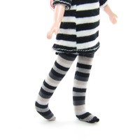 Striped Doll Stockings for Middie Blythe, Black White & Gray