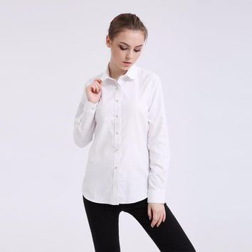 Dioufond New Women Fashion Plus Size Blouse Oxford Ladies Top Solid Long Sleeve Shirt Blue Office Shirt Excellent Quality Blusa