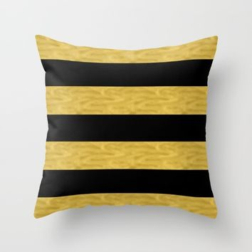 Classy Gold & Black Stripe Throw Pillow by Colibri Art | Society6