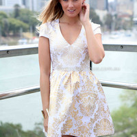 GOLD FOIL DRESS , DRESSES, TOPS, BOTTOMS, JACKETS & JUMPERS, ACCESSORIES, 50% OFF SALE, PRE ORDER, NEW ARRIVALS, PLAYSUIT, COLOUR, GIFT VOUCHER,,White,Print,Gold Australia, Queensland, Brisbane