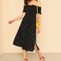 Cherry and Polka Dot Print Shirred Off Shoulder Dress BLACK