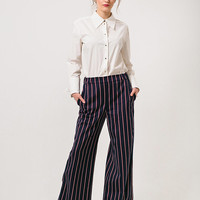 Wide Trousers Blue Trousers Striped Trousers Navy Trousers Women Trousers Wide Pants Blue Pants Striped Pants