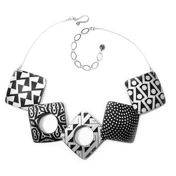 ALL NEW Ivory and Black Square Polymer Clay Necklace