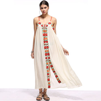 Floral Embroidered Boho Maxi Dress