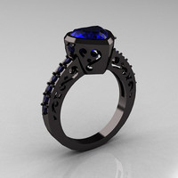 Classic 14K Black Gold 2.0 Carat Heart Blue Sapphire Bridal Ring R314-14KRGBS