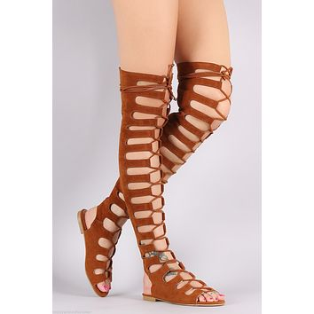 Cape Camel Brown Open Lace Up Front Thigh High Gladiator Sandals Size 6