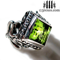 Raven Love Silver Wedding Ring Victorian Gothic Engagement Band Green Peridot Cocktail Ring Size 8