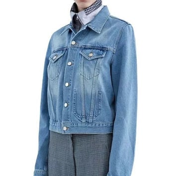 Vintage Rinsed Denim Bags Denim Jacket [4918749892]