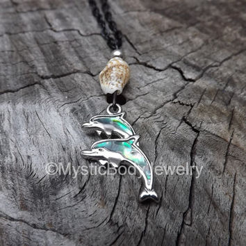 Dolphin Necklace Beaded Sea Shell Abalone Silver Turquoise Beads Ocean Dolphins Natural Handmade Nautical Jewelry Pendant Charm Black Chain