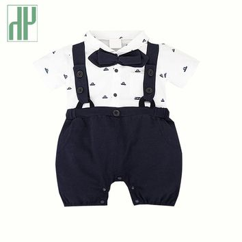 Imported Baby clothes gentleman cotton baby boy summer romper clothes for newborns girls jumpsuit costume printed overalls