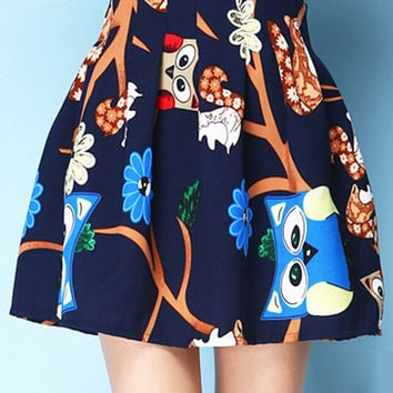 Owl Print Pleated Mini Skater Skirt