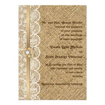 White lace, linen burlap wedding invitations from Zazzle.com