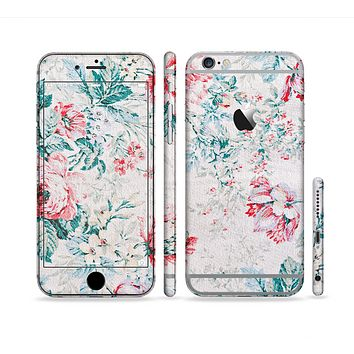 The Coral & Blue Grunge Watercolor Floral Sectioned Skin Series for the Apple iPhone 6/6s Plus