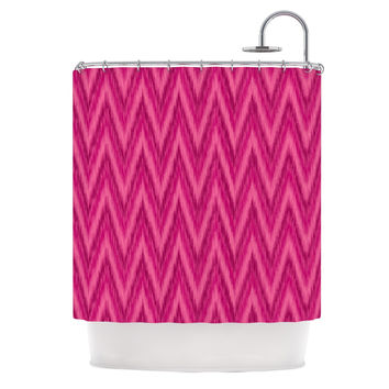 "Amanda Lane ""Berry Pink Chevron"" Magenta Purple Shower Curtain"