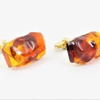Amber Gold Plated Chunky Cuff Links, Double Plated, Large Amber Color Chunks, Vintage Cuff Links