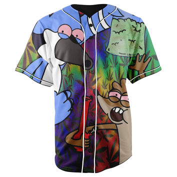 Regular Show Blue Button Up Baseball Jersey