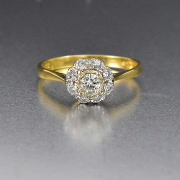Diamond Cluster Vintage 18K Gold Engagement Ring 2510e444a5