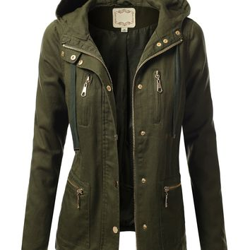J.TOMSON Womens Trendy Military Cotton Drawstring Anorak Jacket OLIVE S