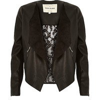 River Island Womens Black leather-look lace back waterfall jacket