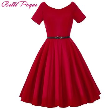 Belle Poque Women Dress 2017 Retro Vintage Short Sleeve Black Red Summer Dress Tunic 1950s 60s Rockabilly Swing Party Dresses