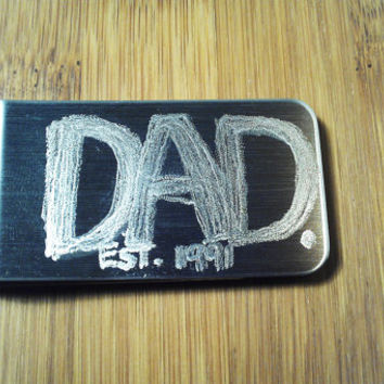 Dad Moneyclip Mens Custom Engraved Personalized Year Est Money Clip Mens Dude Guy Daddy Father In Law Grandpa Birthday Fathers Day Gift SALE