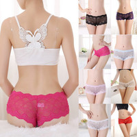Womens Lace See Through Boxers Boyshorts Underwear Panties Lingerie