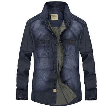 Denim shirt men Cotton Long sleeve men dress shirts slim fit camisa social Jean shirt men Spring Brand Fashion M-3XL