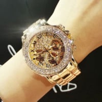 2017 New High Quality Luxury Crystal Diamond Watches Women Gold Watch Steel Strip Rose Gold Sparkling Dress Wristwatch Drop Ship