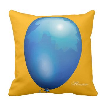 Light blue toy balloon funny unique throw pillow