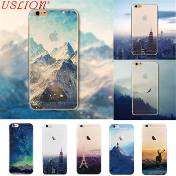 For iPhone 7 Back Covers Ultra Thin Soft Silicon Mountain Landscape Case Cover For iphone 7 5s 6 6s Plus Transparent Back Cover