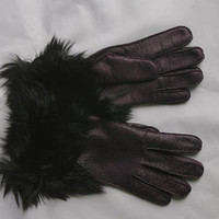 Lady's Fashion Peccary Leather Gloves with Alpaca Fur