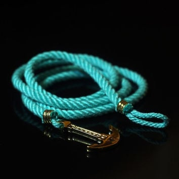 Anchor Bracelet. GOLD PLATED. Mint Bracelet. Sea Nautical Bracelet. Marine Rope Bracelet. Mens Bracelet. Women Bracelet. Men Rope Bracelet