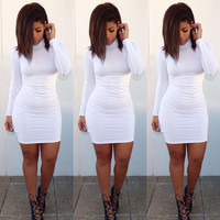 White Long Sleeve Turtleneck Bodycon Mini Dress
